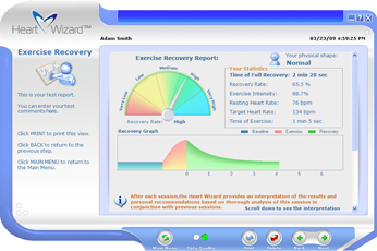 Click to see a larger picture of Exercise Recovery report screen