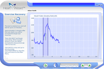 Click to see a larger picture of Exercise Recovery session screen