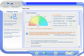 Click to see a larger picture of Fitness Test report screen