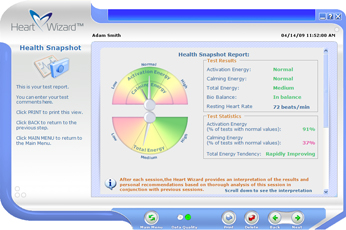 Click to see a larger picture of Health Snapshot report screen